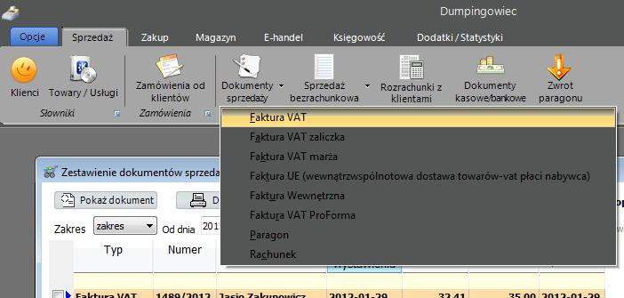 Faktura VAT - Okno pokazujące Fakturę VAT